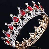 Круглая корона в золоте с красными камнями, диадема, тиара, высота 5,5 см.