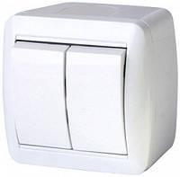 Выключатель двухклавишный e.aqua.1112.gr для внешнего монтажа, IP44 (арт. s035052)