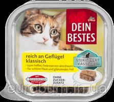 Dein Bestes Паштет с птицей для кастрированных и стерилизованных кошек 100 г (Германия)