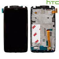 Дисплейный модуль (дисплей + сенсор) для HTC One XL X325, с рамкой, оригинал (черный)