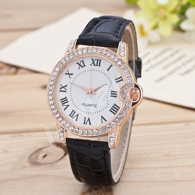 Изысканные женские часы со стразами Black