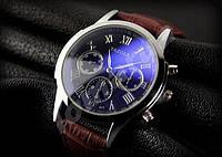 Мужские кварцевые часы Yazole 317 Phantom blue mirror