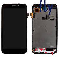 Дисплейный модуль (дисплей + сенсор) для Fly Phoenix 2 IQ4410i, с рамкой, черный, оригинал