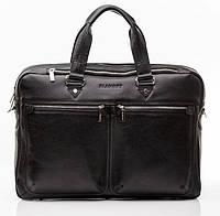Кожаная мужская деловая сумка Blamont 001 черная