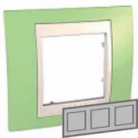 Рамка 3-местная горизонтальная Unica Plus (зеленое яблоко/слоновая кость)