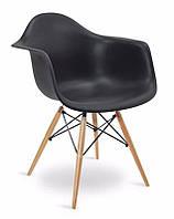Кресло Тауэр Вуд черное пластиковое на буковых ножках, Реплика на Eames DAW Chair