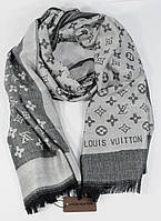 Кашемировый палантин Louis Vuitton серый двусторонний