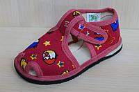 Красные тапочки для девочки на липучке детская обувь Украина, тм Экотапок 19, 19,5 размер