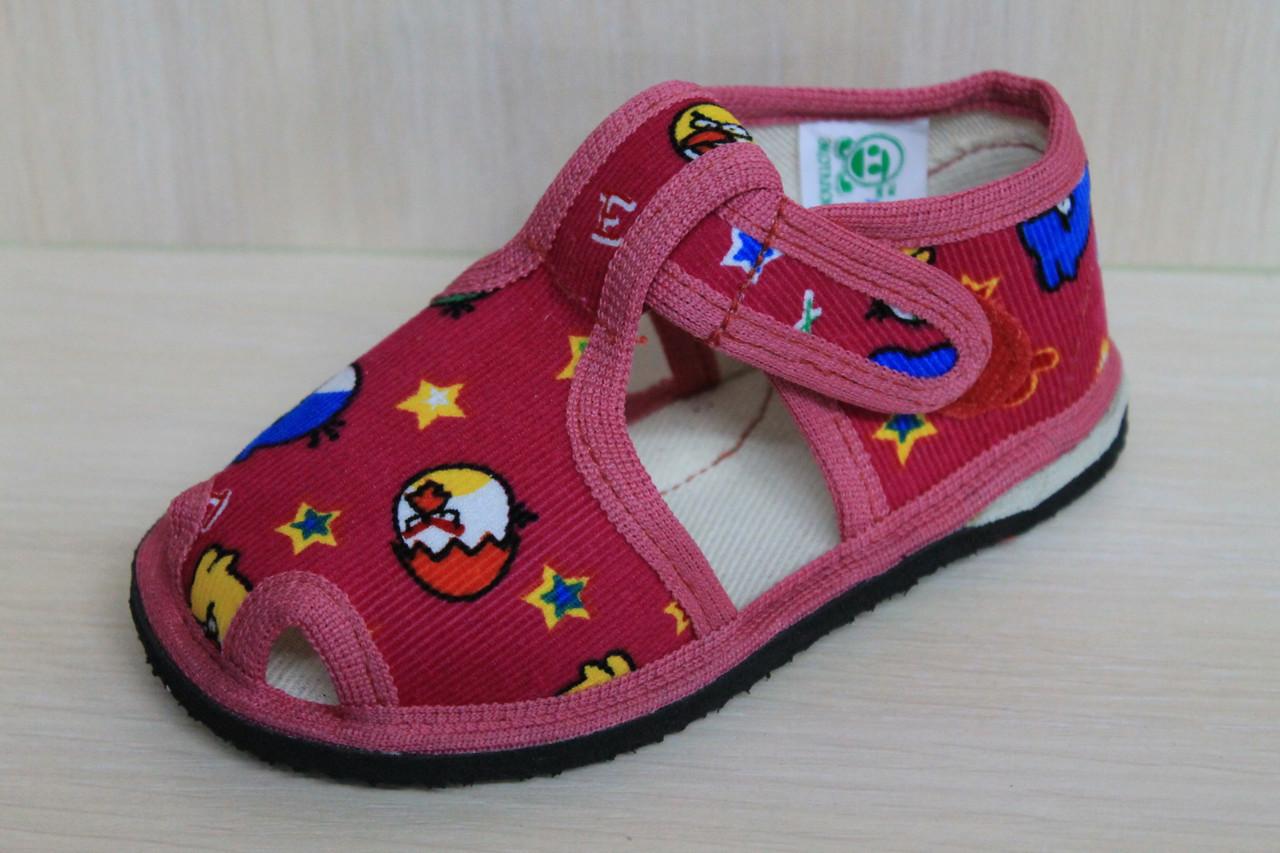 ca79457724a Красные тапочки для девочки на липучке детская обувь Украина