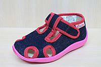 Тапочки на девочку в садик на липучке текстильная обувь Vitaliya Виталия Украина размеры 26