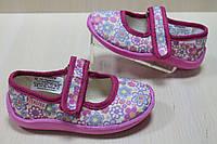Тапочки девочке с липучкой для садика и дома текстильная обувь Vitaliya Виталия Украина размер 23-27