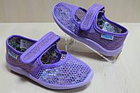 Тапочки для садика на девочку с липучкой текстильная обувь Виталия Украина размеры с 23 по 27