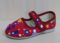 Красные тапочки с липучкой на девочку детская обувь Украина тм Экотапок размеры 17,18,19,20,21