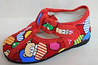 Тапочки красные для девочки на липучках детская обувь Украина, тм  Экотапок размеры с 12 по 16,5