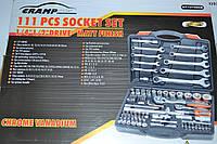 Набір рожкових  ключів та головок CRAMP, 111 шт WT121082B , для авто, фото 1