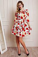 Красивое белое платье в цветы