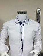 Белая рубашка на мальчиков 122,128,134,140,146,152 роста с ультрамариновой отделкой