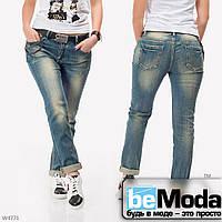 Модные женские джинсы LOLO с оригинальными потертостями с ремнем в комплекте синие