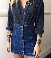 Женская модная джинсовая юбка-трапеция на пуговицах