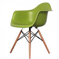 Кресло Тауэр Вуд зеленое пластиковое на буковых ножках, Реплика на Eames DAW Chair