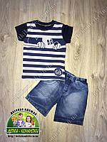 Летний костюм для мальчика: футболка и джинсовые шорты