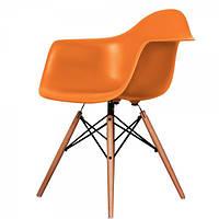 Кресло Тауэр Вуд оранжевый, Пластиковое Ретро кресло на буковых ножках, кресла для Horeca