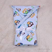 """Демисезонный конверт-одеяло для новорожденного """"Valleri"""" (совенок) голубой, фото 1"""