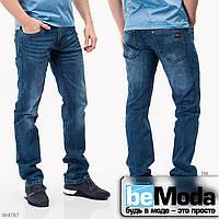 Эффектные мужские джинсы Mardoc с потертостями темно-синие