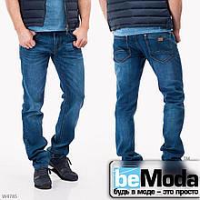Великолепные мужские джинсы Mardoc прямого кроя с потертостями синие