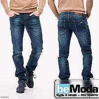 Стильные мужские джинсы Mardoc с оригинальными потертостями синие
