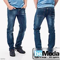 Необычные мужские джинсы Mardoc прямого кроя с потертостями синие