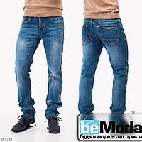 Оригинальные мужские джинсы Mardoc с необычными потертостями синие
