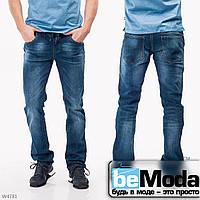 Модные мужские джинсы Mardoc оригинального кроя  с потертостями синие