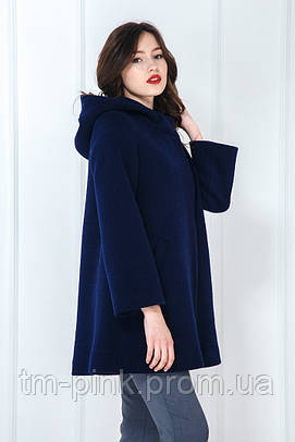 Пальто з капюшоном синій