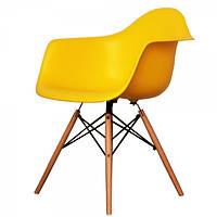 Кресло Тауэр Вуд желтое, Пластиковое Ретро кресло на буковых ножках, кресла для Horeca