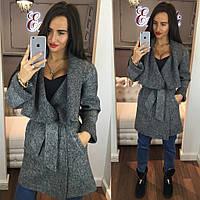 Стильное женское пальто тм Enneli материал шерсть букле с объемным воротником, с карманами на поясе. Серое