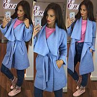 Стильное женское пальто тм Enneli материал шерсть букле с объемным воротником, с карманами на поясе. Голубое