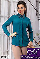 Стильная женская блуза темно-бирюзового цвета с камнями (р. S, M, L, XL) арт.12883