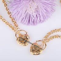"""Интересный комплект """"Сердце"""", покрытый золотом (63195)"""