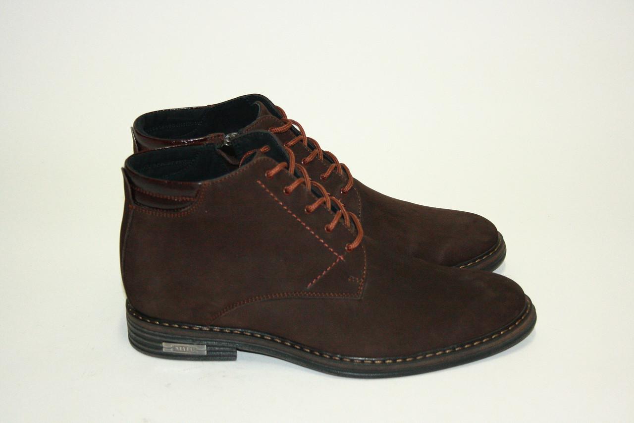 Мужские зимние ботинки (нубук) в темно-коричневом цвете/man shoes 1050 кор.н