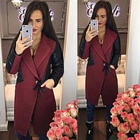 Стильное женское пальто тм Enneli материал кашемир, рукава материал эко кожа. Цвет бордовый