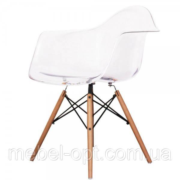 Дизайнерское кресло Тауэр прозрачное, Реплика на кресло Eames, пластиковое на буковых ножках, SDMWCHTR