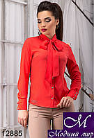 Стильная женская красная блуза с бантом (р. S, M, L, XL) арт.12885