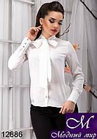 Стильная женская белая блуза с бантом (р. S, M, L, XL) арт.12886
