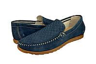 Мужские мокасины из натуральной кожи mida 110293джинс синие   весенние