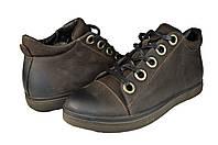Мужские ботинки зимние на меху кожаные prime 601нуб.кор коричневые   зимние