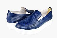 Женские кроссовки из натуральной кожи с перфорацией verali 1333.3 синие   весенние