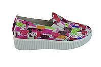 Женские кроссовки из натуральной кожи с перфорацией verali 21333.191 цветастые  весенние