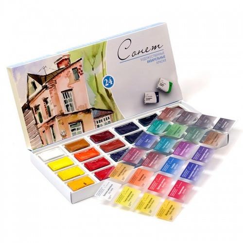 Набір акварельних фарб Сонет 24 кольори в кюветах по 2,5 мл ЗХК Невська Палітра, 3541139