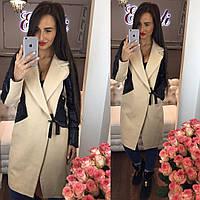 Стильное женское пальто тм Enneli материал кашемир, рукава материал эко кожа. Цвет бежевый